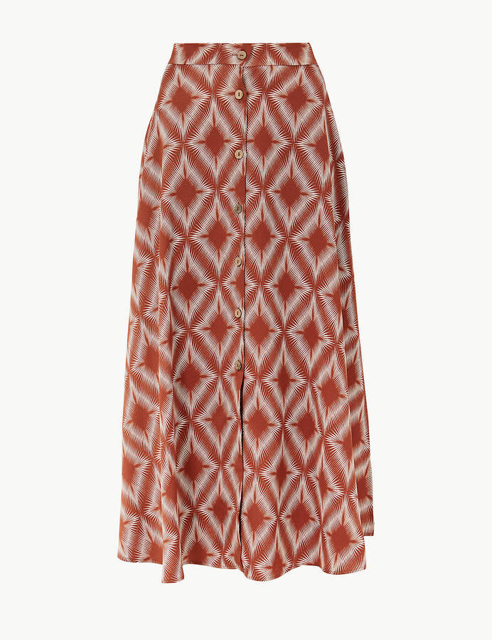 M&S Collection Marks and Spencer Diamond Print Button Detailed A-Line Maxi Skirt