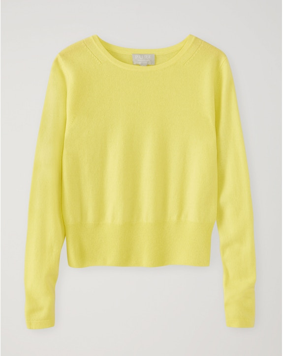 Pure Collection Cashmere Cropped Sweater limeade
