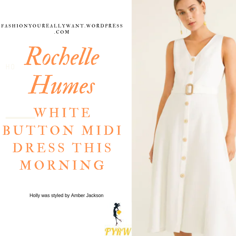 How to Find Rochelle Humes  This Morning outfit today white button front v neck midi dress rope strappy sandals blog July 2019
