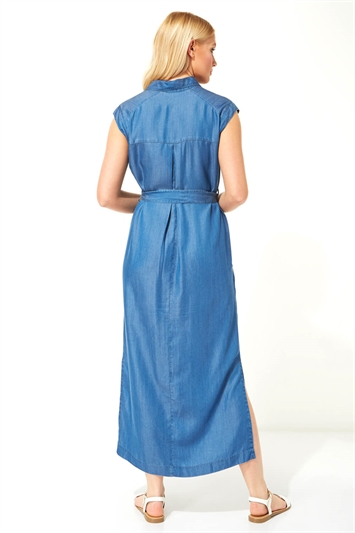 Roman Denim Button Through Midi Dress back view