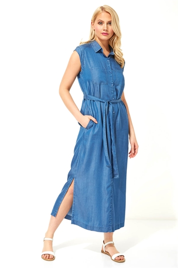 Roman Denim Button Through Midi Dress