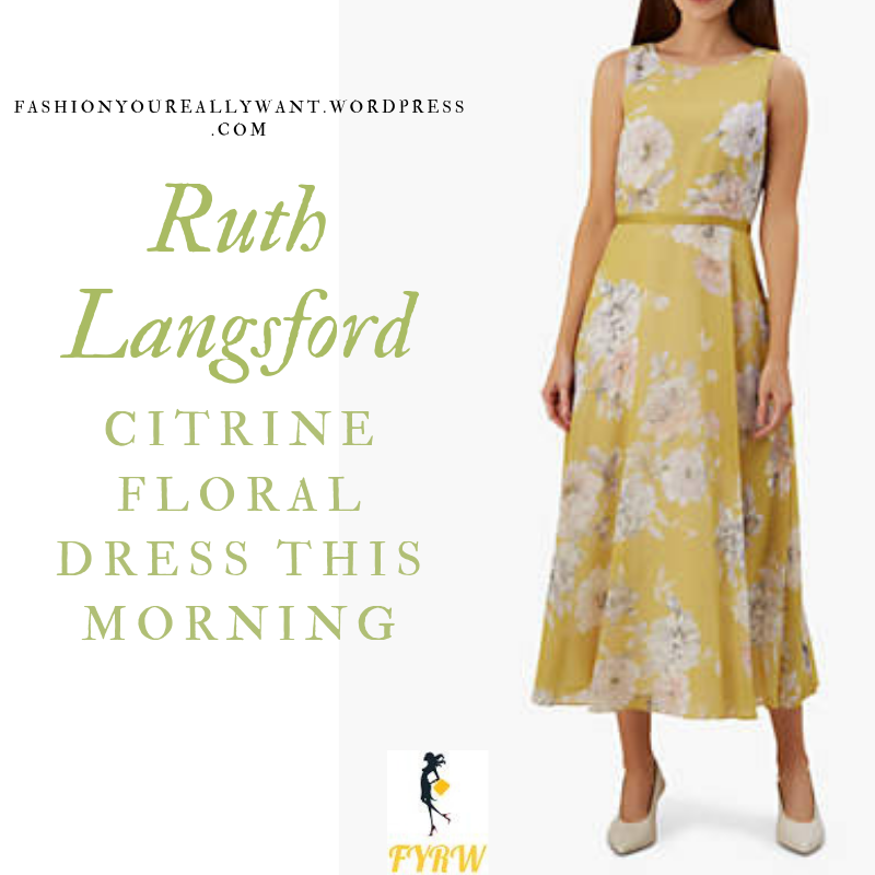 How to Find Ruth Langsford  This Morning outfit today citrine chartreuse dress white flowers blog July 2019