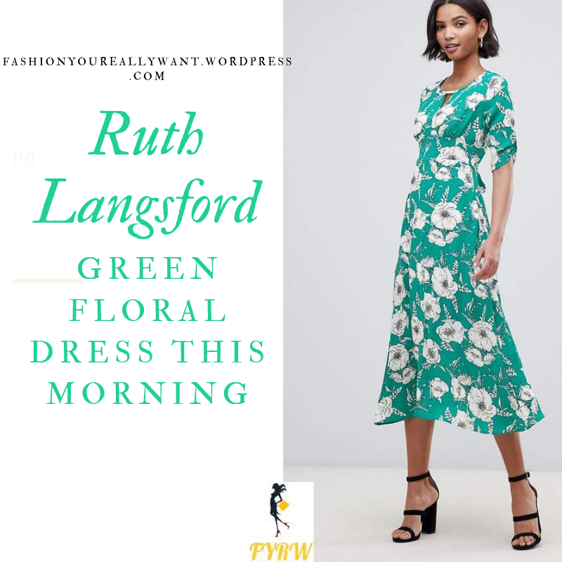 How to Find Ruth Langsford This Morning outfit today blog July 2019 green and white floral print midi dress white wedge sandals