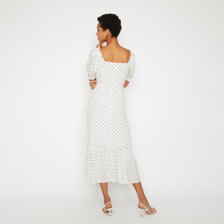 Warehouse POLKA DOT MIDI PRAIRIE DRESS back view