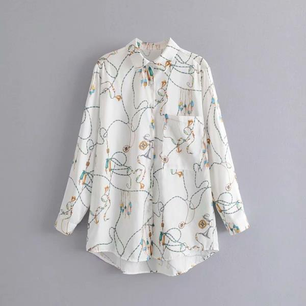 white rope print blouse