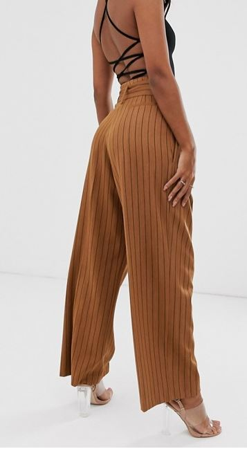 ASOS DESIGN belted wide leg trousers in pinstripe back view