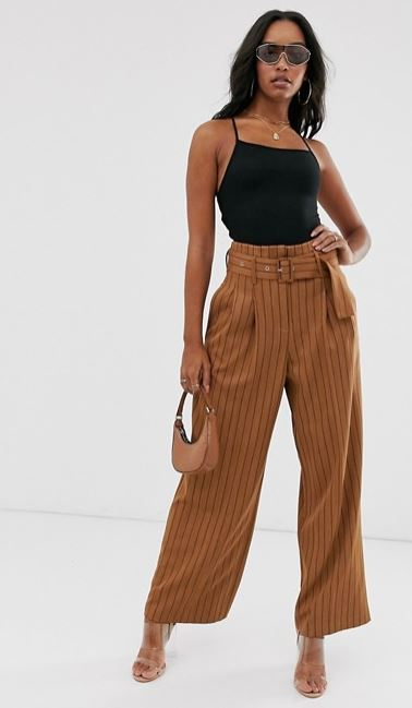 ASOS DESIGN belted wide leg trousers in pinstripe