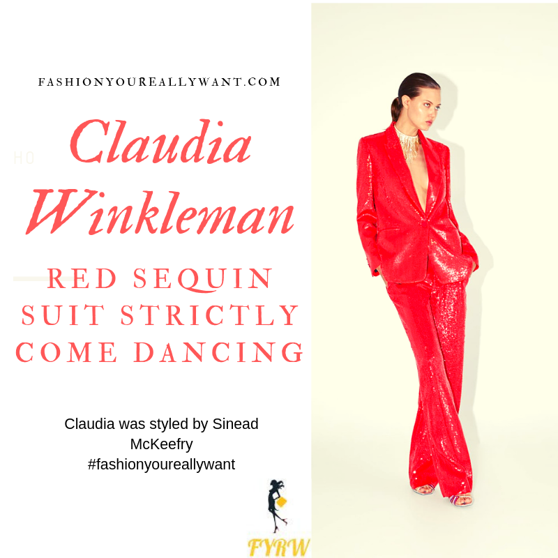 Claudia Winkleman Red Sequin Jacket Trousers Suit Strictly Come Dancing Launch August 2019