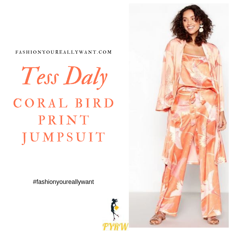 How to Find Tess Daly Coral Bird Print Jumpsuit London August 2019