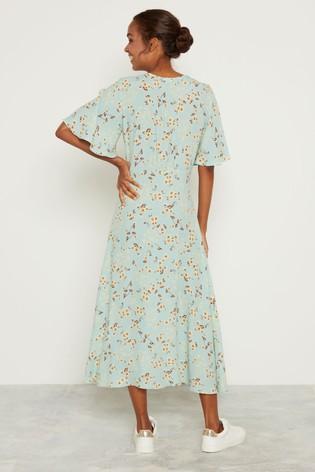 F&F Mint Daisy Print Midi Shirt Dress back view