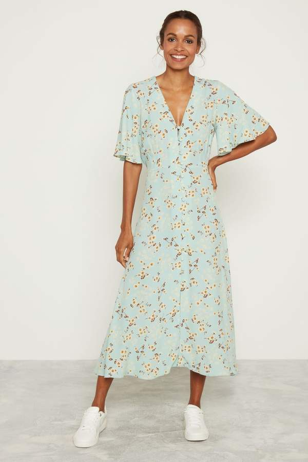 F&F Mint Daisy Print Midi Shirt Dress