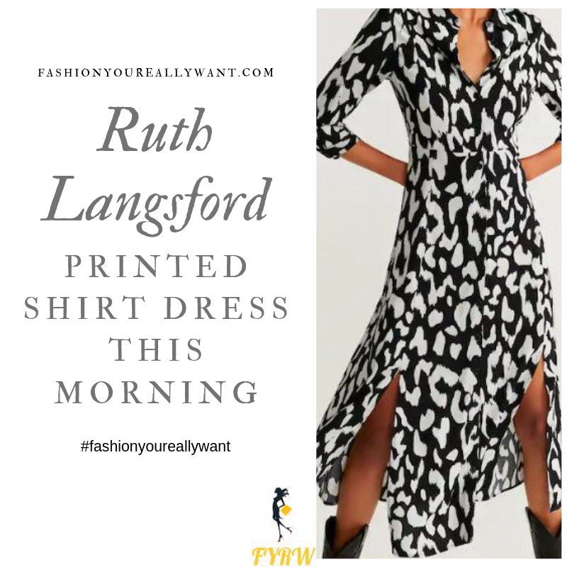 How to Find Ruth Langsford  black and beige printed shirt dress This Morning outfit today blog August 2019