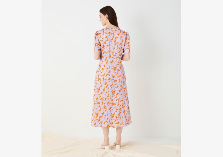 Finery Kamila Megan Abstract Print Midi Dress back view