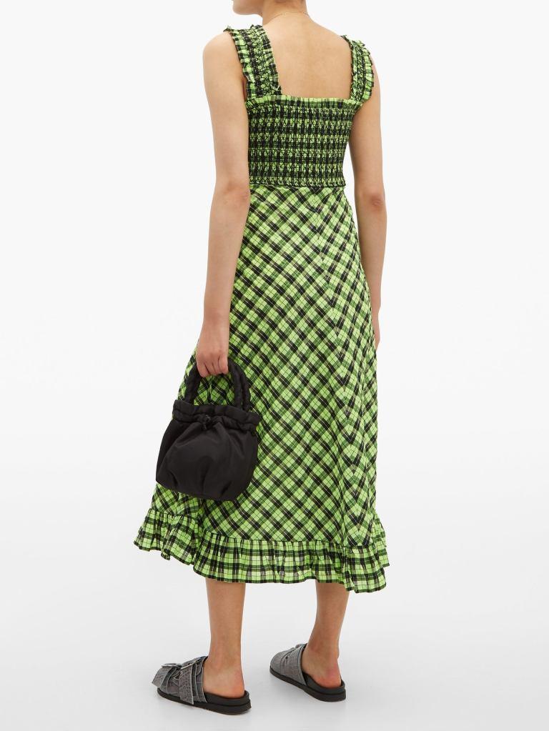 Ganni Checked Cotton Blend Midi Dress back view