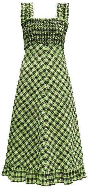 Ganni Checked Cotton Blend Midi Dress in Black Green