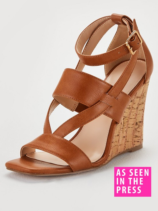 Giulia Ankle Strap Cork Wedge Sandal - Tan