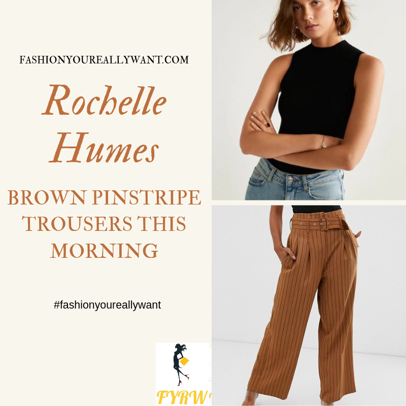 How to Find Rochelle Humes  This Morning outfit today brown pinstripe belted wide leg trouser black sleeveless top blog August 2019
