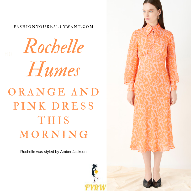 How to Find Rochelle Humes This Morning outfit today orange and pink printed dress with collar and long sleeves blog August 2019