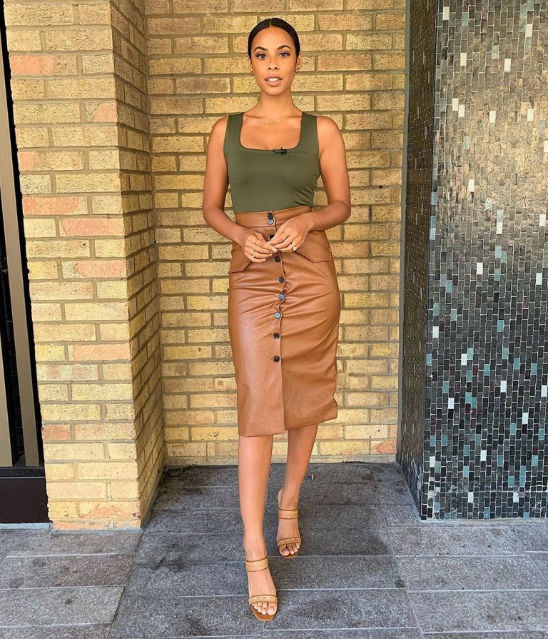 how to find Rochelle Humes This Morning outfit today brown leather look skirt green top beige mules August 2019 Photo Rochelle Humes