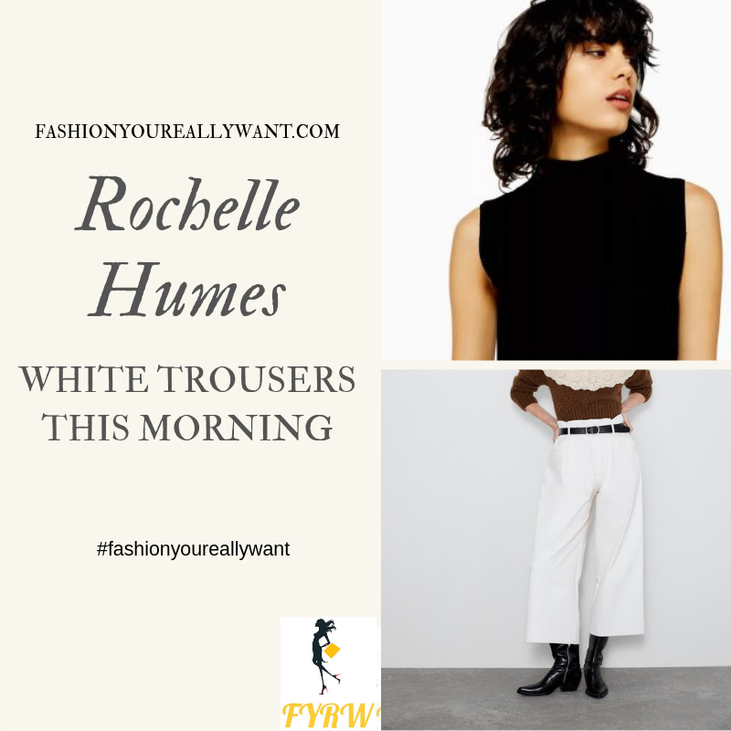 How to Find Rochelle Humes  This Morning outfit today sleeveless black top white high waist wide trousers blog August 2019