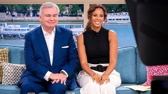 how to find Rochelle Humes white wide leg trousers black sleeveless top This Morning outfit August 2019 photo ITV com