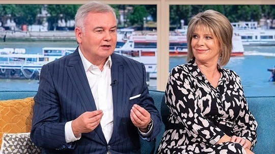 how to find Ruth Langsford black printed shirt dress This Morning outfit today august 2019 photo ITV com