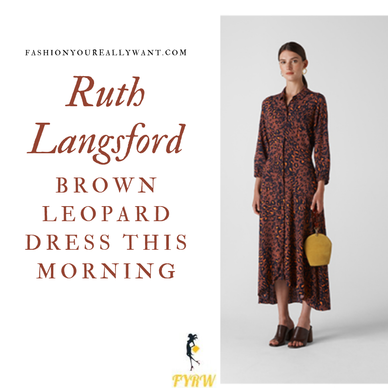 How to Find Ruth Langsford  This Morning outfit today brown leopard print shirt dress blog August 2019