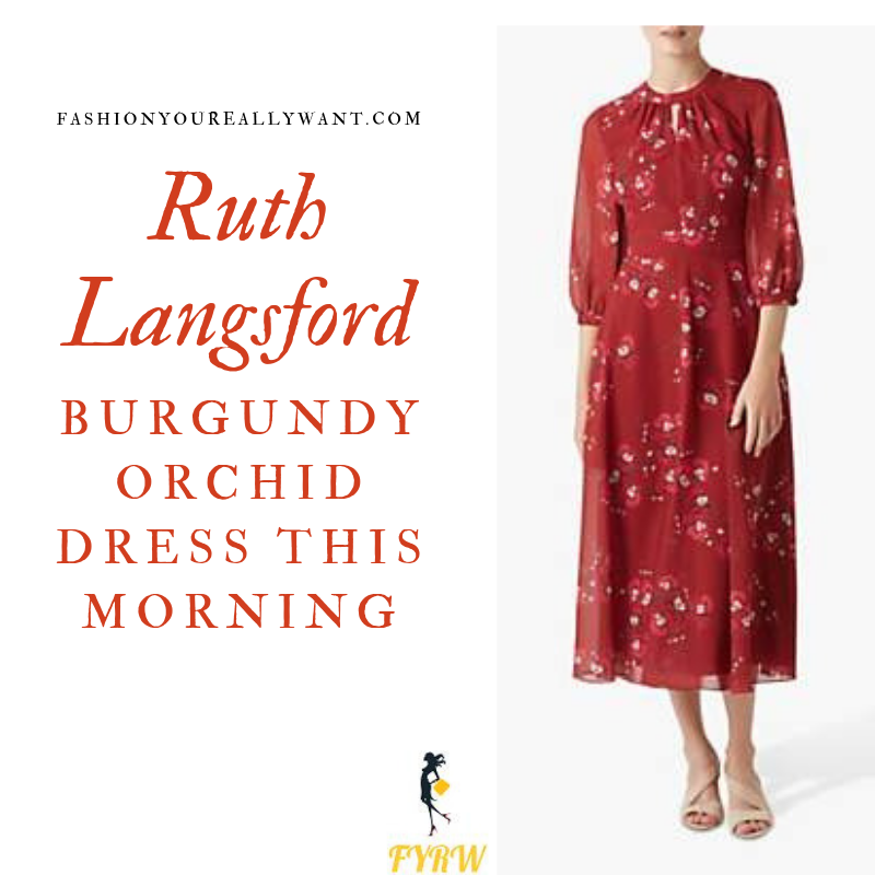 How to Find Ruth Langsford  This Morning outfit today blog dark red burgundy floral midi dress August 2019