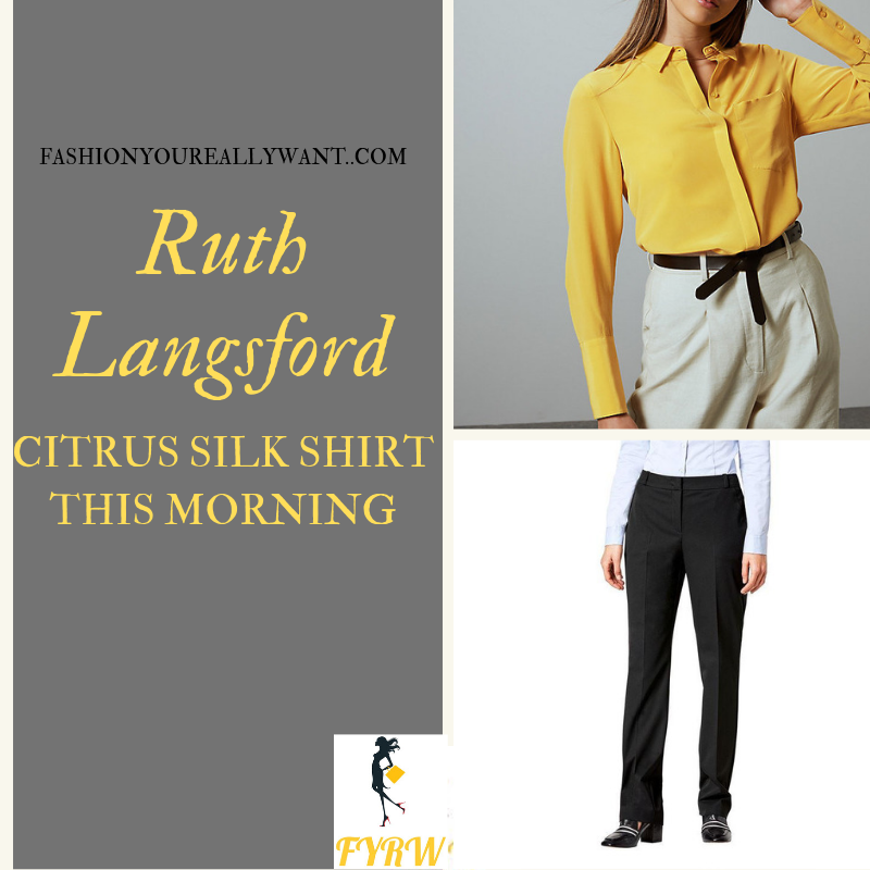 How to Find Ruth Langsford  This Morning citrus yellow shirt black trousers outfit today blog August 2019