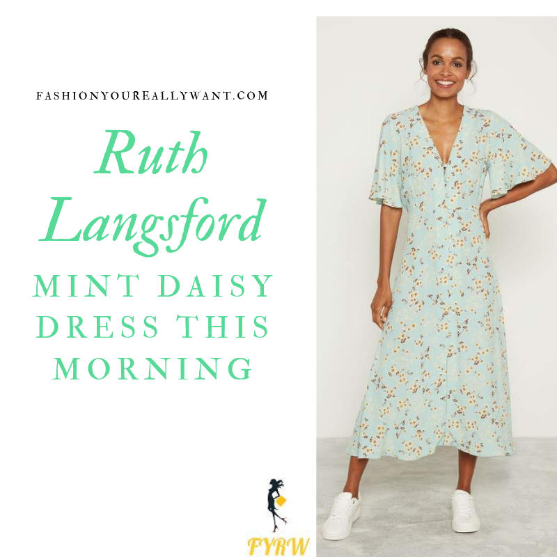 How to Find Ruth Langsford This Morning outfit today Mint Green Floral Daisy Dress blog August 2019