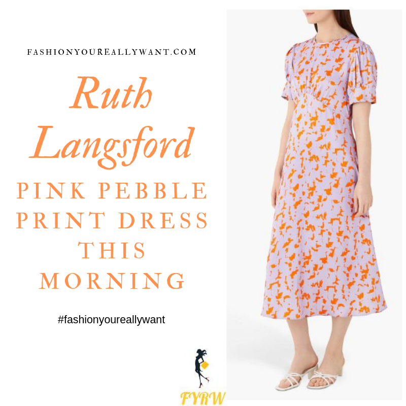 How to Find Ruth Langsford This Morning outfit today pink satin dress with orange print short sleeves blog August 2019