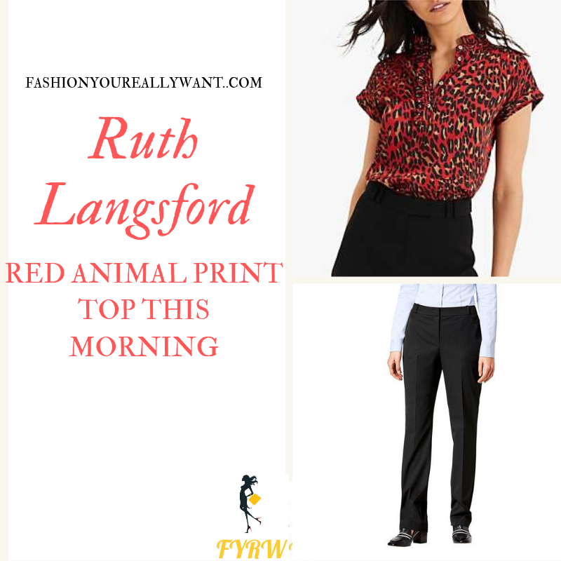 How to Find Ruth Langsford This Morning outfit today Red Leopard Animal Print short sleeve Top blog August 2019