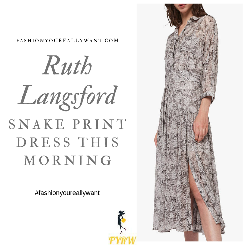 How to Find Ruth Langsford  This Morning outfit today Snake Print Shirt Dress blog August 2019