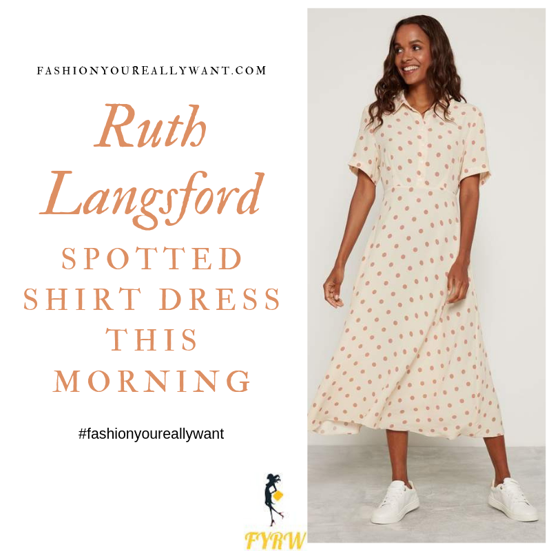 How to Find Ruth Langsford This Morning outfit today cream neutral shirt dress with beige brown spot polka dot blog August 2019