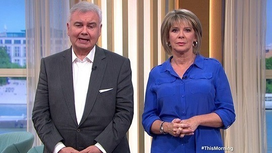 How to find Ruth Langsford This Morning outfit today blue cobalt shirt dress August 2019 photo ITV com