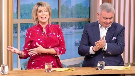 how to find Ruth Langsford This Morning outfit today burgundy red floral dress August 2019 photo ITV com