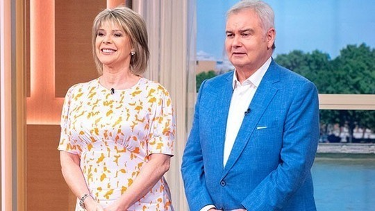 how to find Ruth Langsford This Morning outfit today pink and orange satin midi dress August 2019 photo ITV com