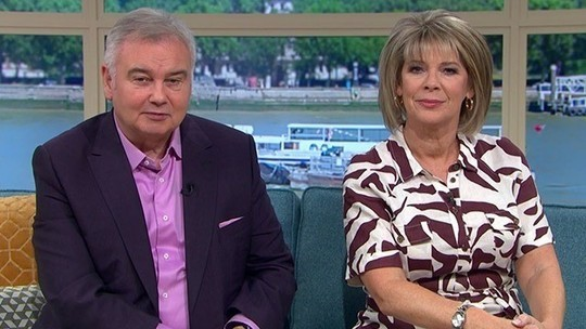 How to find ruth Langsford This Morning outfit today white and brown zebra print shirt dress August 2019 Photo ITV com