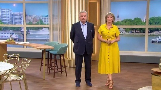 How to find Ruth Langsford This Morning outfit today yellow safari shirt dress brown sandals august 2019 Photo ITV com