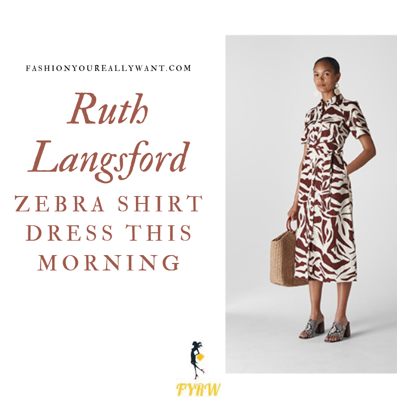 How to Find Ruth Langsford This Morning white and brown zebra print shirt dress outfit today blog August 2019