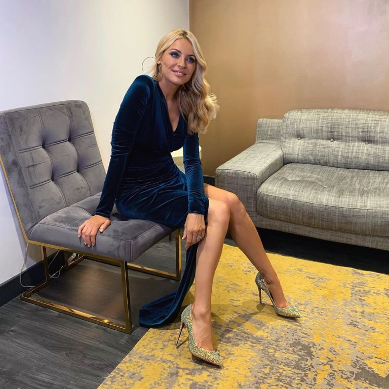 How to find Tess Daly blue velvet side slit dress Strictly Launch August 2019 photo James Yardley