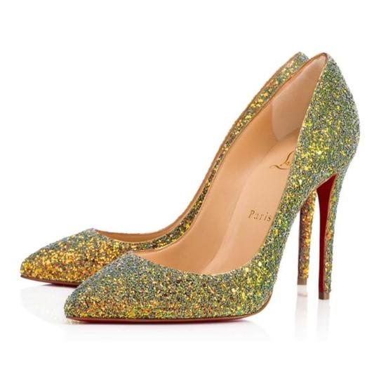 Louboutin Gold Pigalle Follies Glitter Dragonfly Pollen Stiletto Pumps