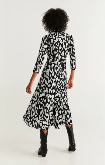 Mango printed shirt dress back view