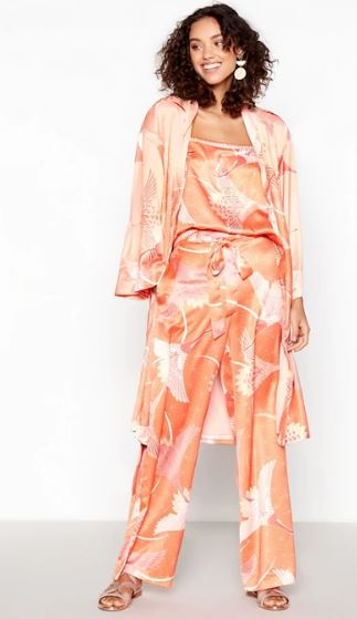 Matthew Williamson Coral Graphic Bird Satin Wide Leg Trousers and camisole