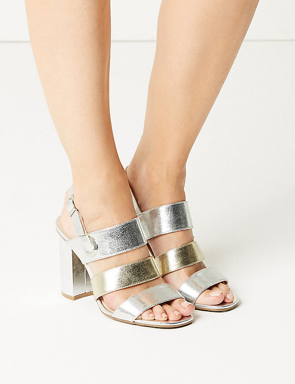 M&S Collection Marks and Spencer Wide Fit Multi Strap Slingback Sandals