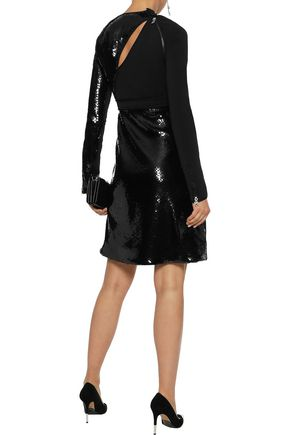 Mugler Cutout Sequin-embellished Satin-crepe Mini Dress back view