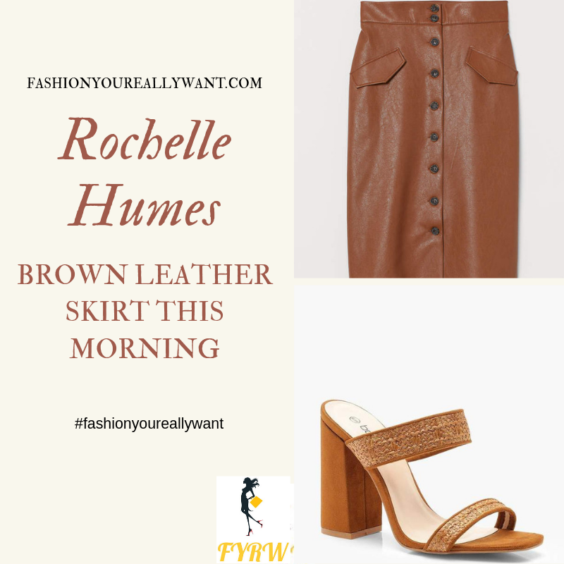 How to Find Rochelle Humes  This Morning outfit today green square neck top brown button pencil skirt woven mules blog August 2019