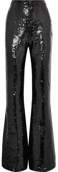Safiyaa Sequined Silk Flared Pants