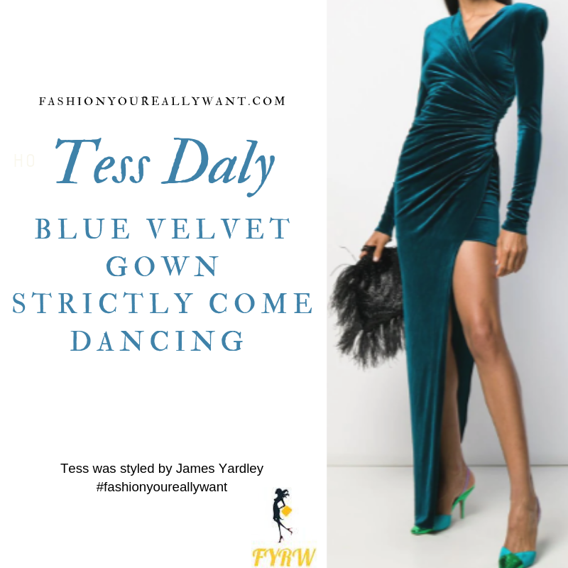 Tess Daly blue velvet gown gold glitter court shoes Strictly Come Dancing Launch 2019 August blog