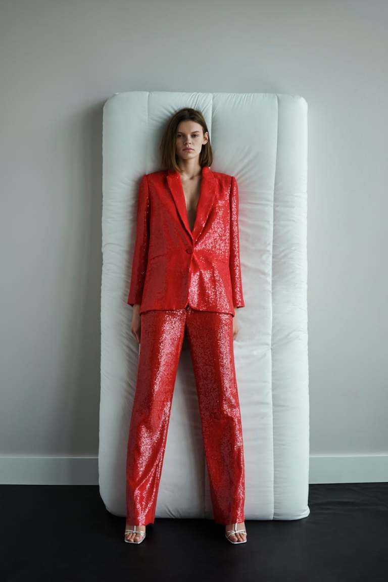 Zara red sequin suit